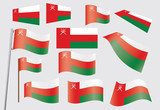 set of flags of Oman vector illustration