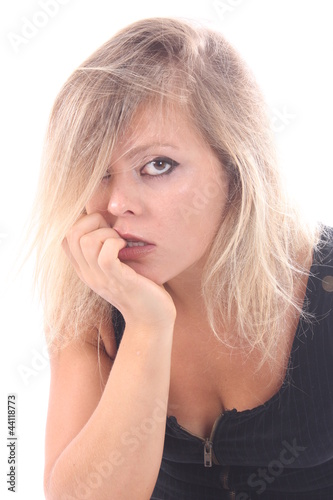 Beautiful blonde woman portrait at the studio