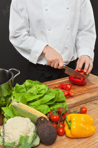 Preparing vegetables for salad