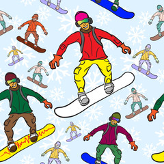 seamless pattern of Snowboarder