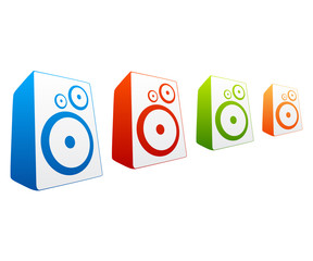 Collection of colored loud speakers