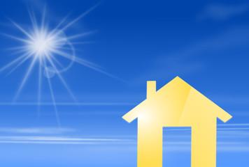 Haus mit Himmel und Sonne