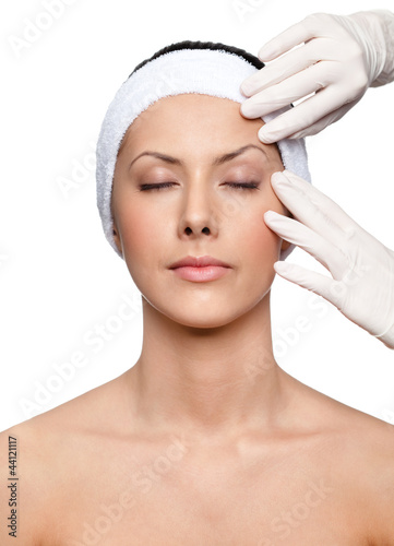 poster of Starting a facelift, isolated, white background