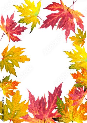 Goldener Herbst: Karte mit Rahmen aus bunten Blättern
