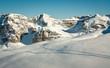 Ski traces in mountain snow