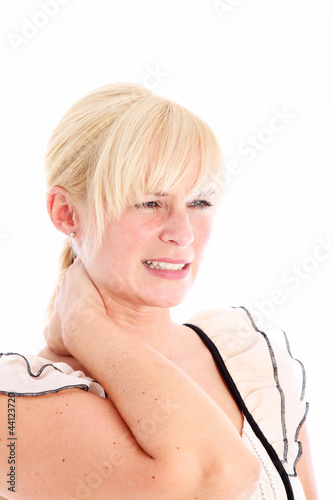 Woman rubbing her stiff neck