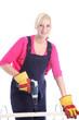 Woman carpenter using a power drill