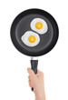 Fried eggs on the pan. Pan in hand on white background.