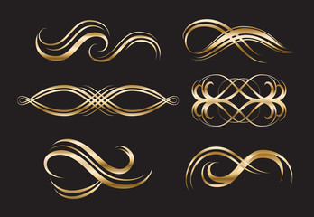 Gold Decorative Labels and Swirls