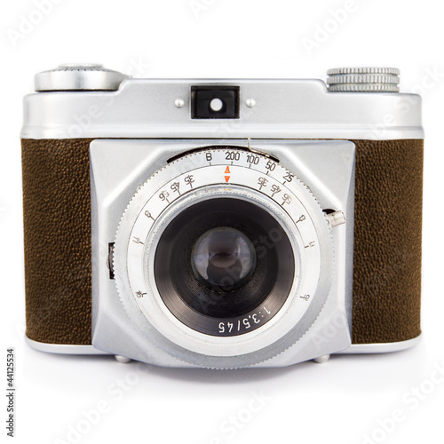 Vintage photo camera isolated on white