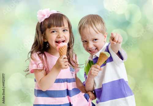 Children with icecream cone outdoor