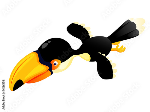 Cartoon hornbill flying