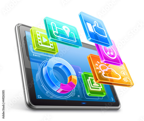 Tablet PC with application icons and pie chart