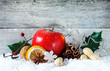 Apple and spices Christmas background
