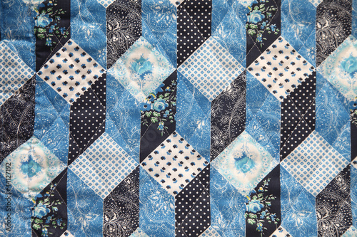 vintage cloth in a faux quilt design