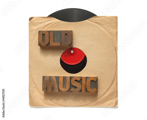 old vinyl record with words old music