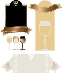 Etichetta Vino con uva e calice