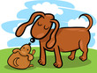 puppy and his dog mom cartoon
