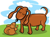 puppy and his dog mom cartoon