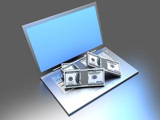 Laptop und Bargeld