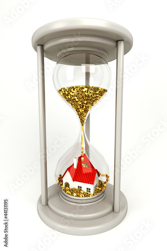 3d illustration of gold coin pouring on house in hourglass