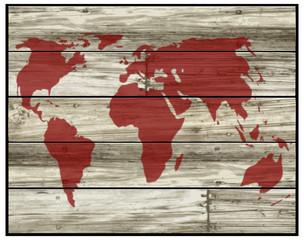 mondo su pannelli legno vettoriale