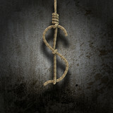 Hangman's knot shaped like a dollar sign