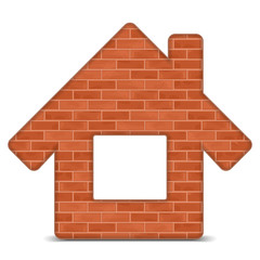 House icon made of bricks