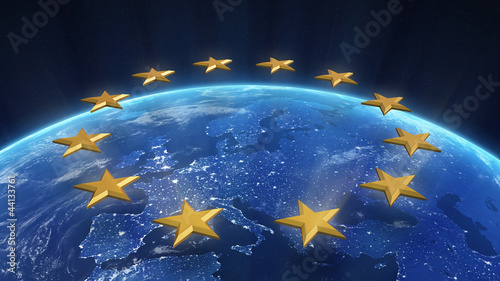 Fotobehang Luchtfoto Night view of Europe