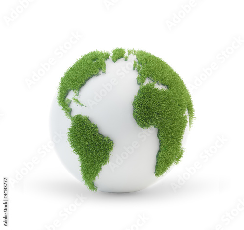 Earth globe covered with grass