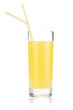 Lemon juice glass with two drinking straw
