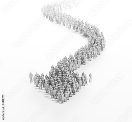 3d people forming an arrow
