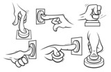 Cartoon hands pushing button. Outline.