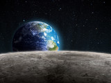 Fototapeta Rising Earth seen from the Moon