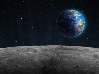 Rising Earth seen from the Moon