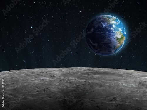 Fototapeta Rising Earth seen from the Moon