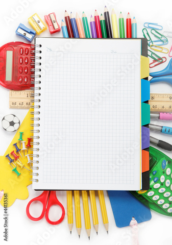 office and student accessories isolated over white background. B