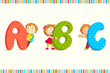 vector illustration of kids peeping behing ABC