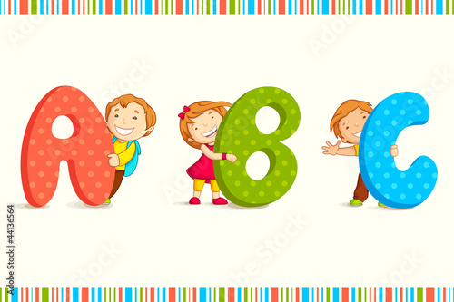 vector illustration of kids peeping behing ABC