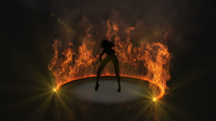 Woman dances a poses infront of flames version 2