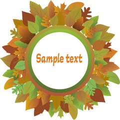 Frame from autumnal leaves. Vector
