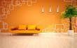modern living room with orange sofa