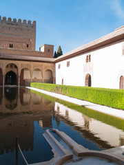 The Court of the Myrtles and Comares tower, Alhambra, Granada, S