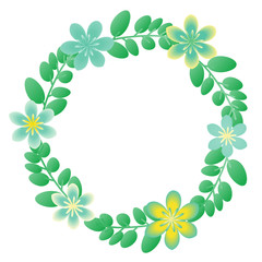 Floral wreath with ornamental flowers