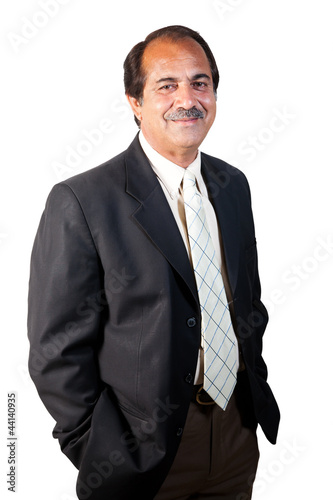 happy, confident senior businessman isolated on white background