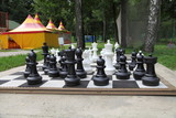 Outdoor chess board poster