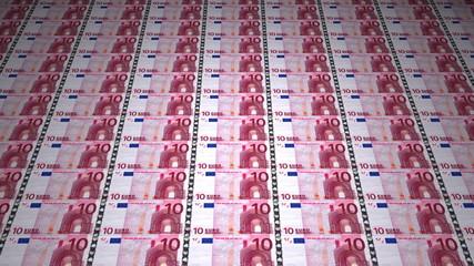 10 euro banknotes seamless looping animation,