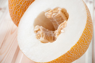 Horizontal shot of ripe melon, close-up