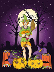 Vector illustration of young witch with pumpkin
