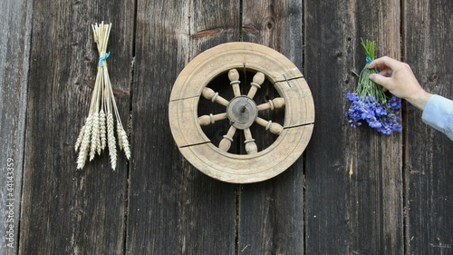 hanging wheat and cornflower bunch on old ranch wall